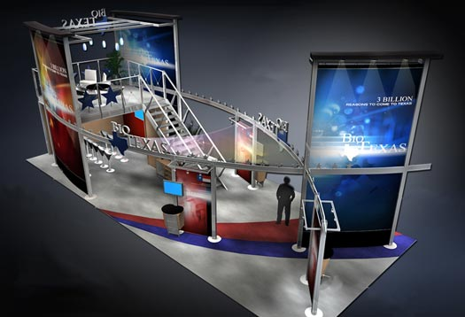 Novo Displays islands 20x50 double deck exhibit
